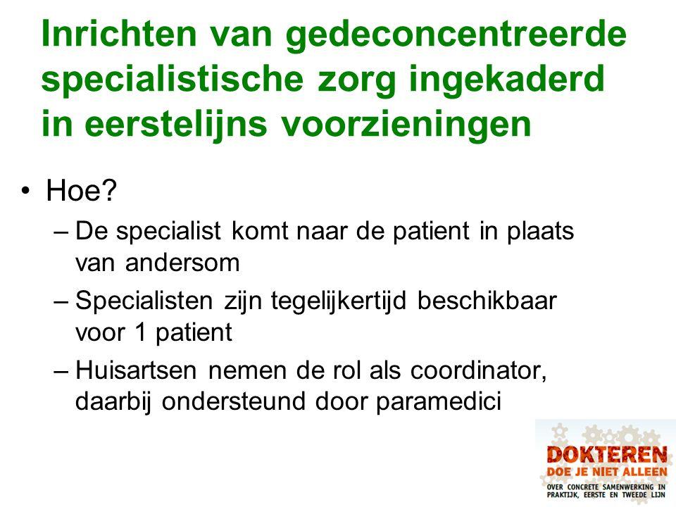 Inrichten van gedeconcentreerde specialistische zorg ingekaderd in eerstelijns voorzieningen Hoe? –De specialist komt naar de patient in plaats van an