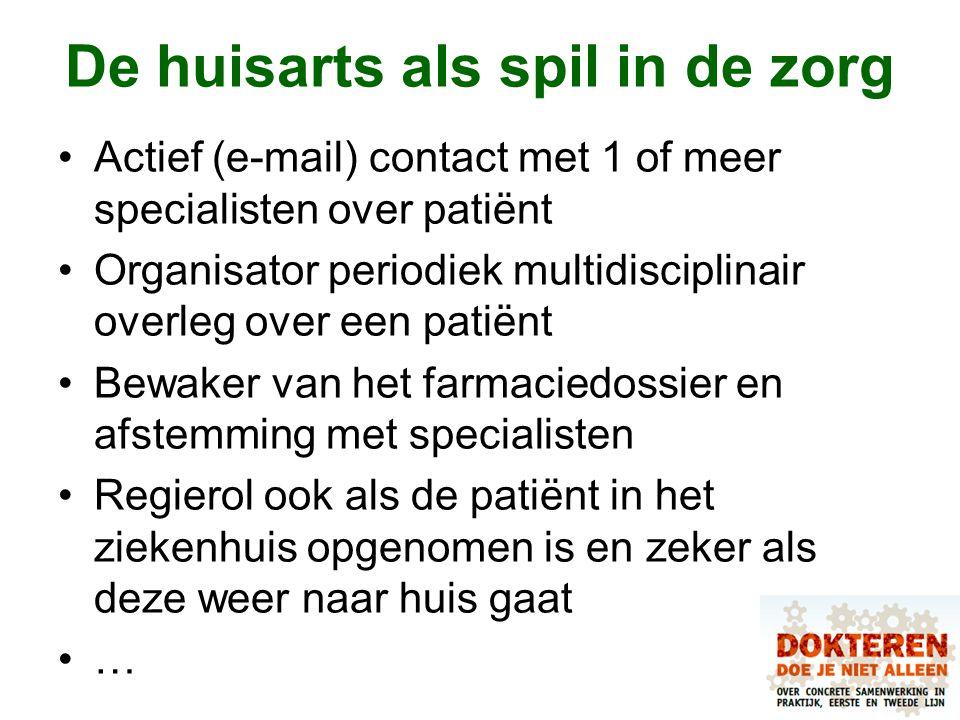 De huisarts als spil in de zorg Actief (e-mail) contact met 1 of meer specialisten over patiënt Organisator periodiek multidisciplinair overleg over e