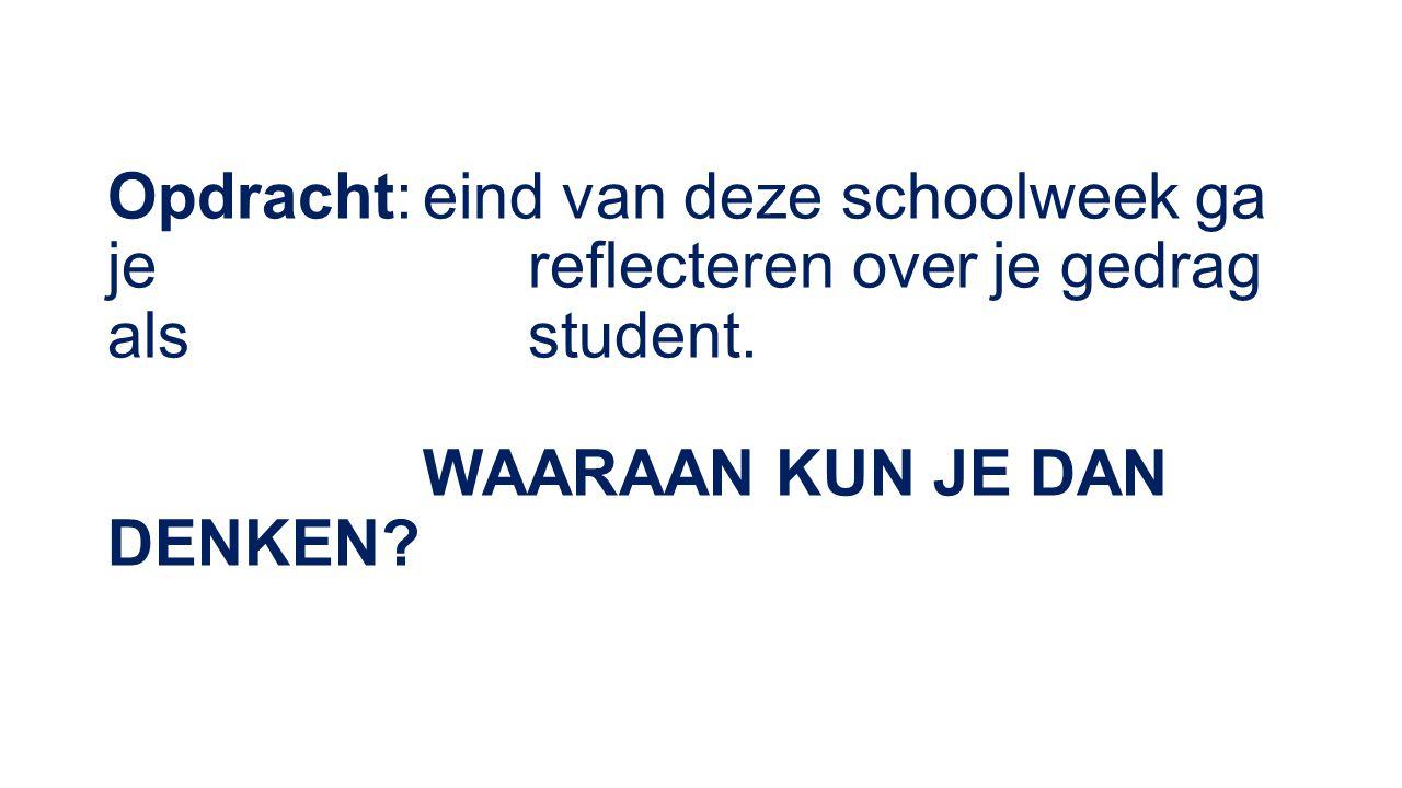 Opdracht:eind van deze schoolweek ga je reflecteren over je gedrag als student.