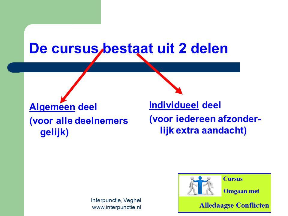 Interpunctie, Veghel www.interpunctie.nl De cursus bestaat uit 2 delen Algemeen deel (voor alle deelnemers gelijk) Individueel deel (voor iedereen afz