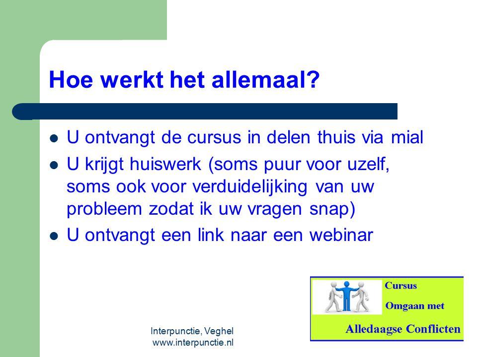 Interpunctie, Veghel www.interpunctie.nl Hoe werkt het allemaal? U ontvangt de cursus in delen thuis via mial U krijgt huiswerk (soms puur voor uzelf,