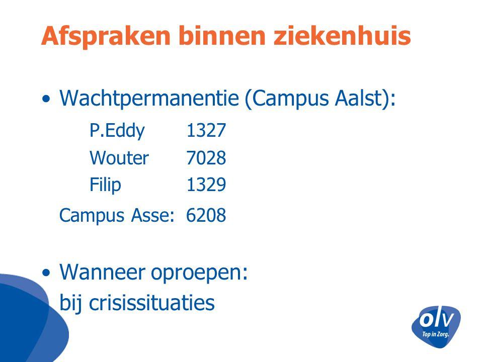 Afspraken binnen ziekenhuis Wachtpermanentie (Campus Aalst): P.Eddy 1327 Wouter7028 Filip 1329 Campus Asse: 6208 Wanneer oproepen: bij crisissituaties