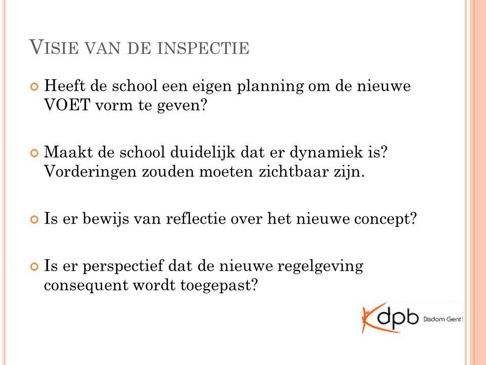 V ISIE VAN DE INSPECTIE Heeft de school een eigen planning om de nieuwe VOET vorm te geven.