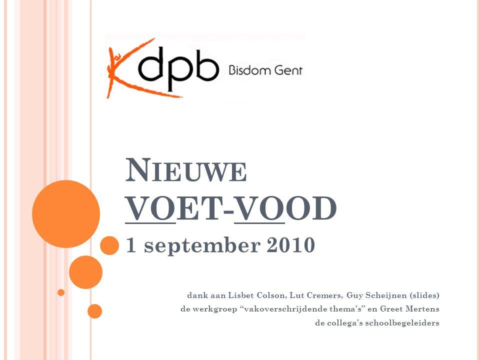 N IEUWE VOET-VOOD 1 september 2010 dank aan Lisbet Colson, Lut Cremers, Guy Scheijnen (slides) de werkgroep vakoverschrijdende thema's en Greet Mertens de collega's schoolbegeleiders