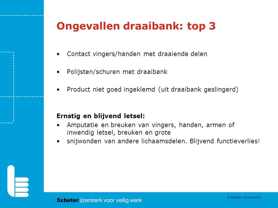 Ongevallen draaibank: top 3 Contact vingers/handen met draaiende delen Polijsten/schuren met draaibank Product niet goed ingeklemd (uit draaibank gesl