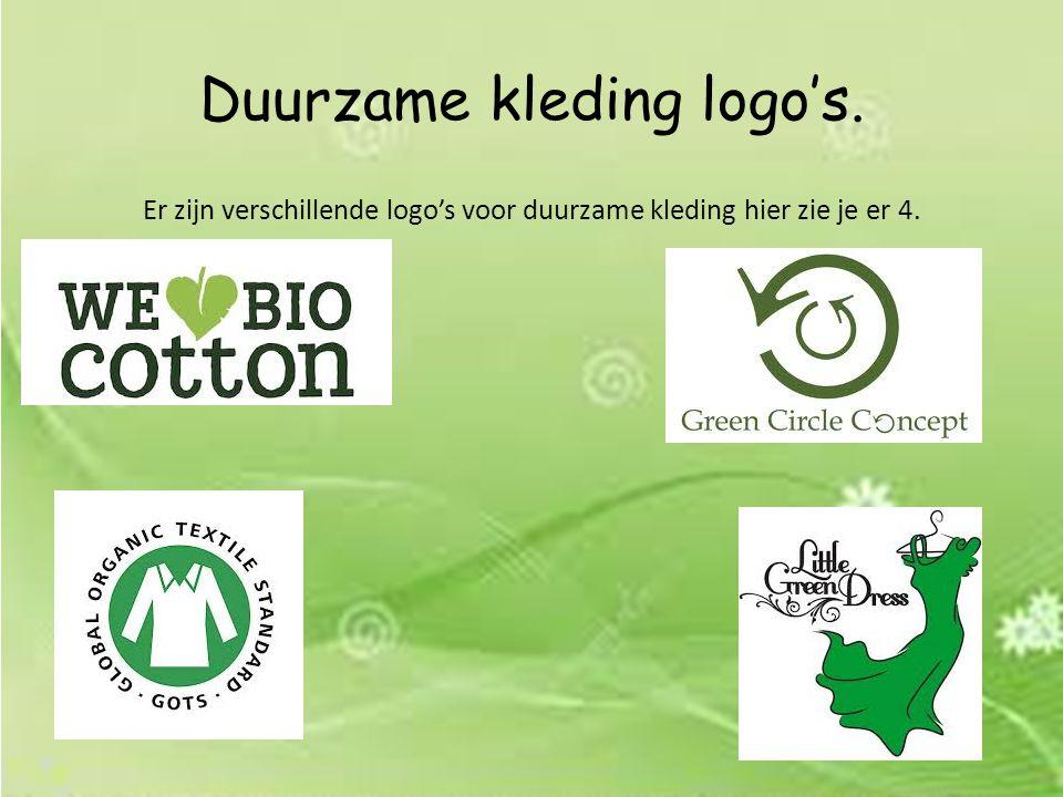 Duurzame kleding logo's. Er zijn verschillende logo's voor duurzame kleding hier zie je er 4.
