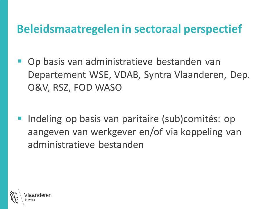 Beleidsmaatregelen in sectoraal perspectief  Op basis van administratieve bestanden van Departement WSE, VDAB, Syntra Vlaanderen, Dep.