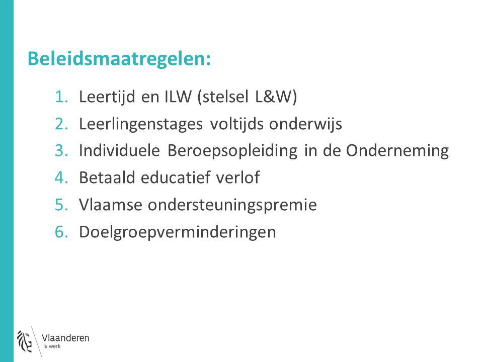 Beleidsmaatregelen: 1.Leertijd en ILW (stelsel L&W) 2.Leerlingenstages voltijds onderwijs 3.Individuele Beroepsopleiding in de Onderneming 4.Betaald educatief verlof 5.Vlaamse ondersteuningspremie 6.Doelgroepverminderingen