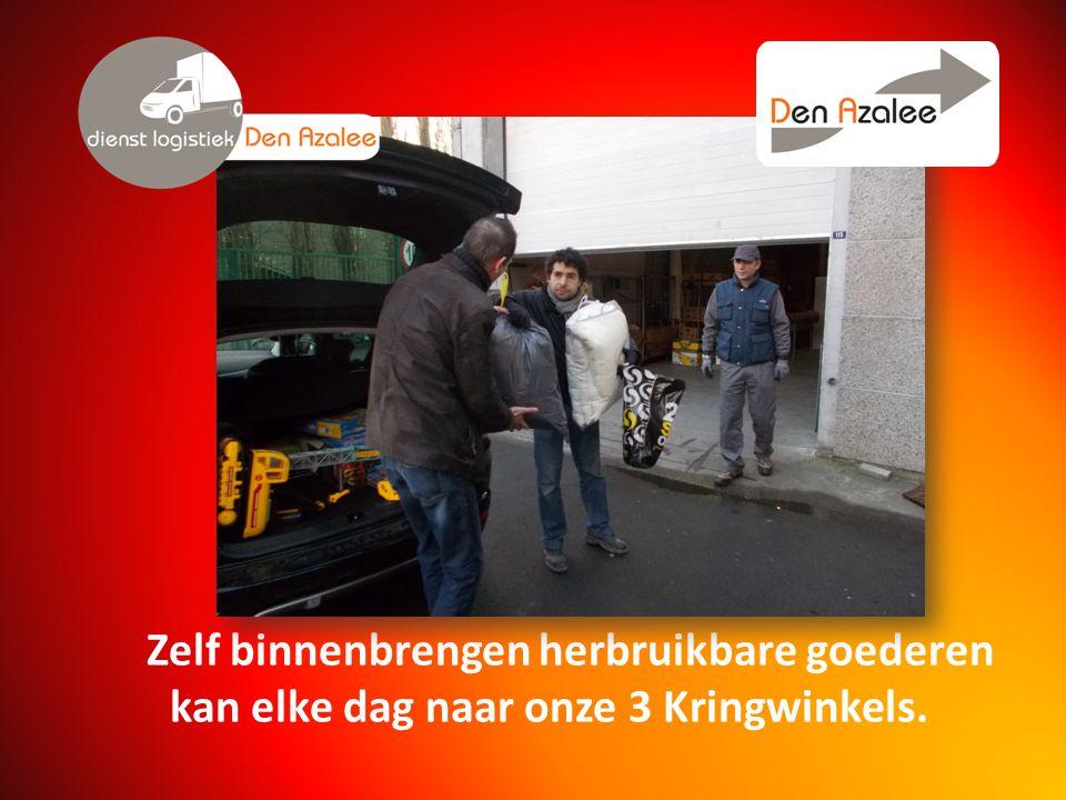 Zelf binnenbrengen herbruikbare goederen kan elke dag naar onze 3 Kringwinkels.
