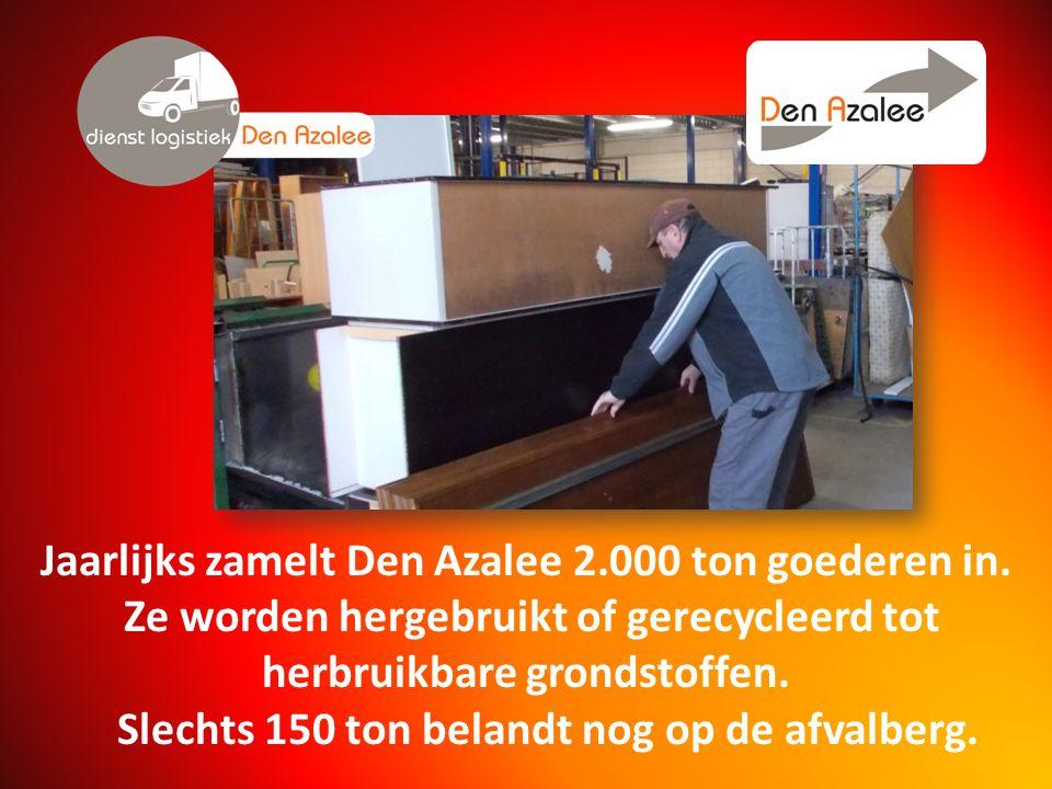 Jaarlijks zamelt Den Azalee 2.000 ton goederen in.