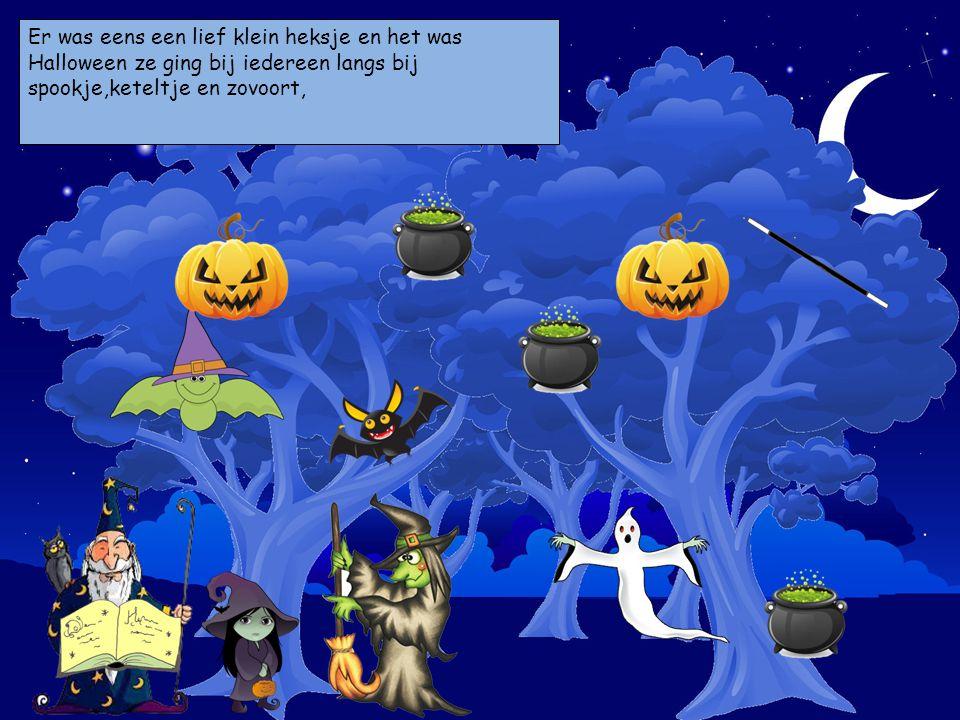 Er was eens een lief klein heksje en het was Halloween ze ging bij iedereen langs bij spookje,keteltje en zovoort, Kies je personages en sleep ze op d