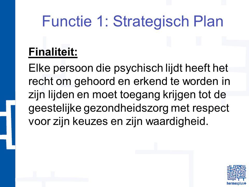 Functie 1: Strategisch Plan Finaliteit: Elke persoon die psychisch lijdt heeft het recht om gehoord en erkend te worden in zijn lijden en moet toegang krijgen tot de geestelijke gezondheidszorg met respect voor zijn keuzes en zijn waardigheid.