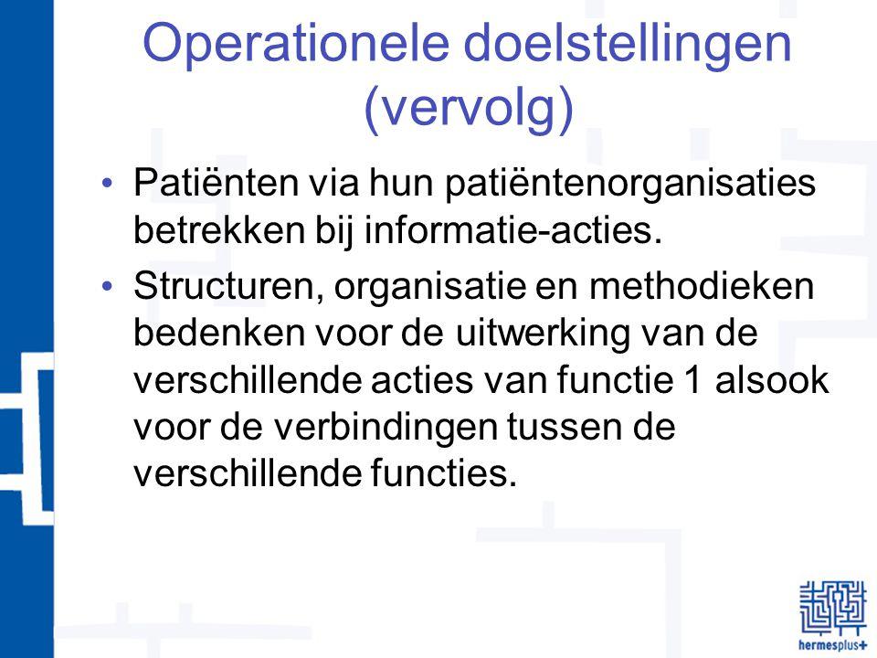 Operationele doelstellingen (vervolg) Patiënten via hun patiëntenorganisaties betrekken bij informatie-acties.