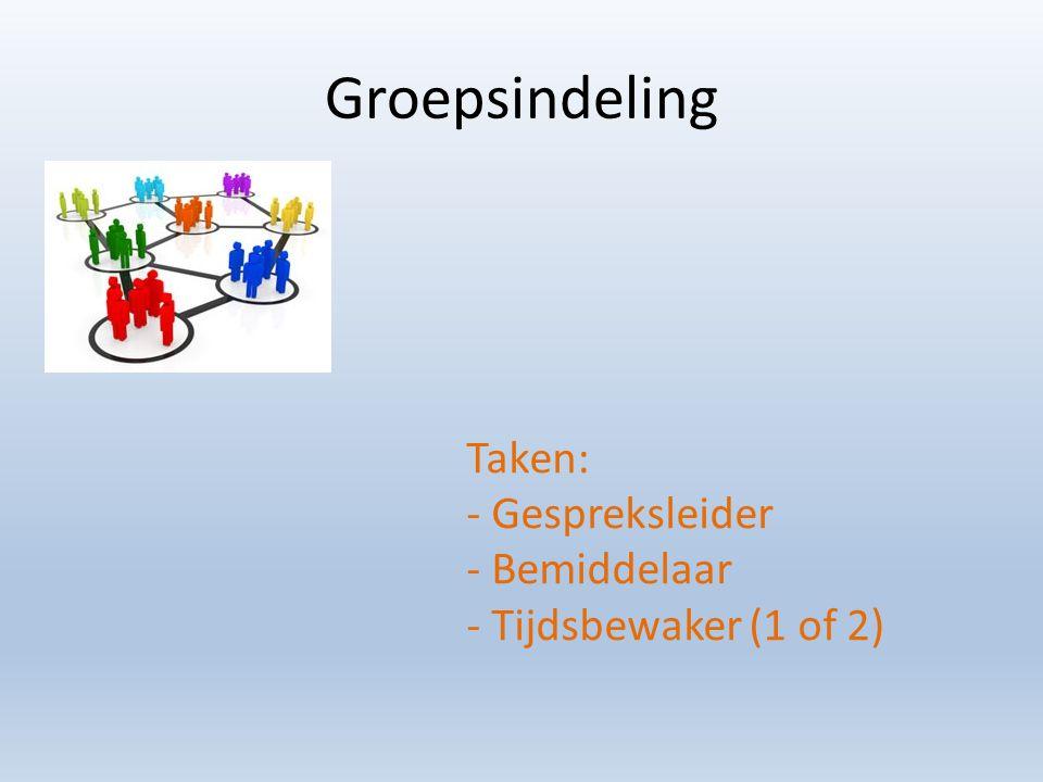 Groepsindeling Taken: - Gespreksleider - Bemiddelaar - Tijdsbewaker (1 of 2)