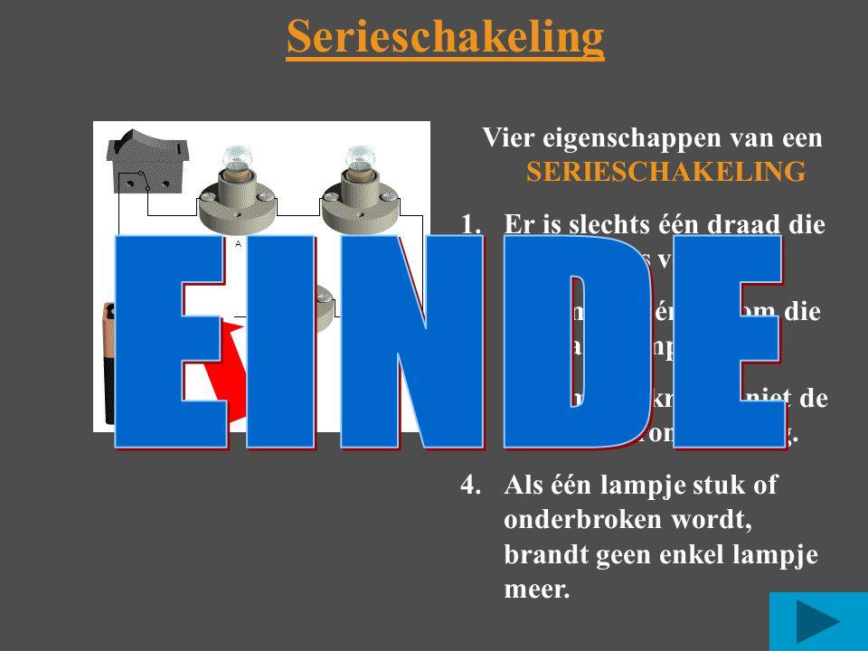 Vier eigenschappen van een SERIESCHAKELING 1.Er is slechts één draad die alle lampjes verbindt.