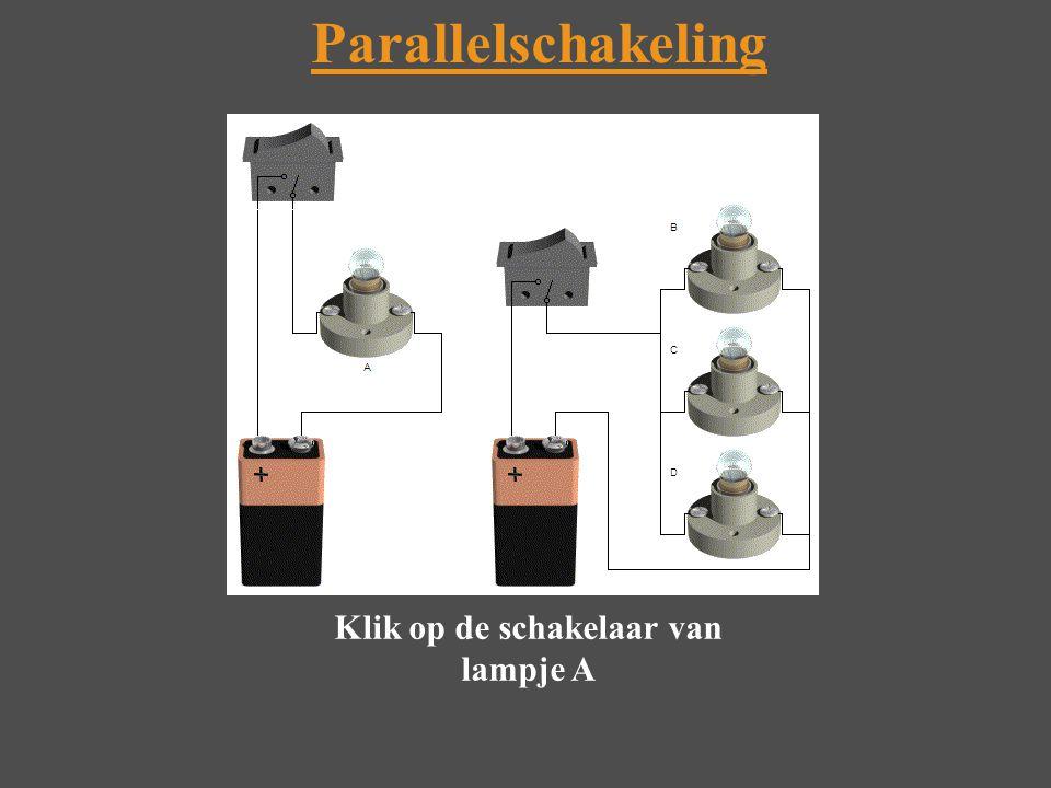 Parallelschakeling Klik op de schakelaar van lampje A