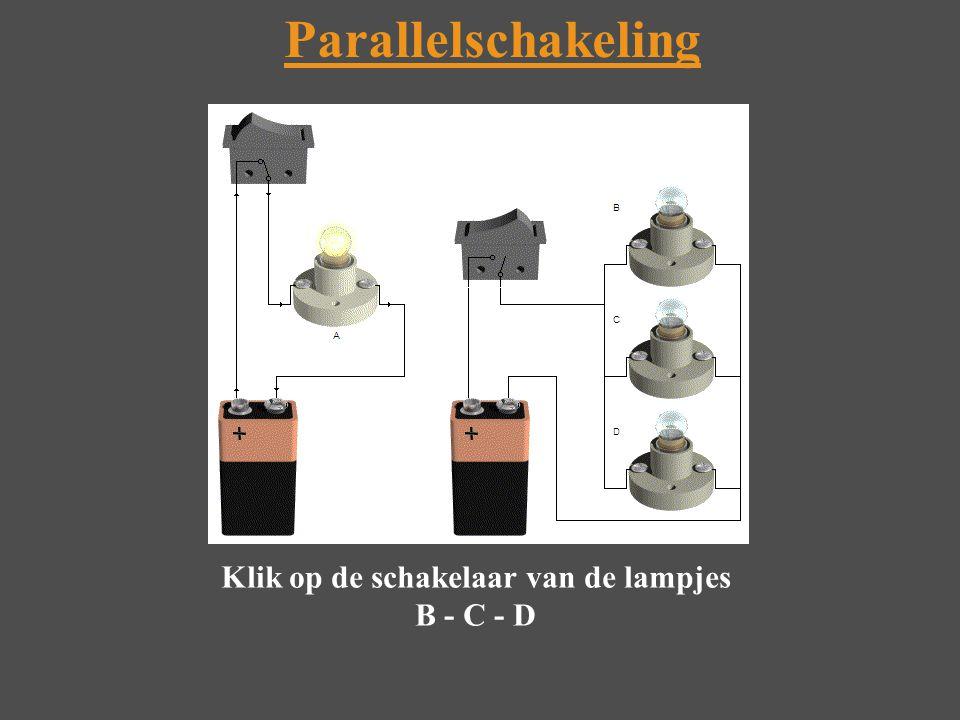 Parallelschakeling Klik op de schakelaar van de lampjes B - C - D
