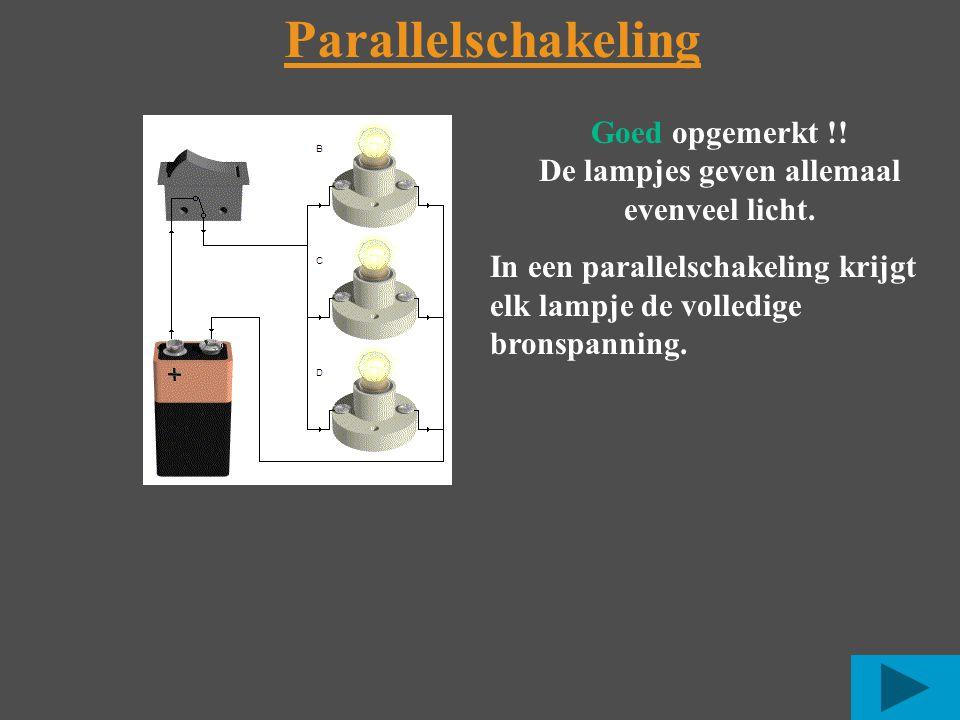 Parallelschakeling Goed opgemerkt !.De lampjes geven allemaal evenveel licht.