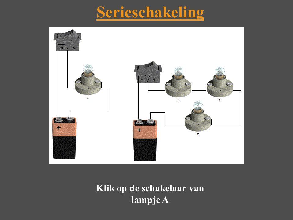 Serieschakeling Klik op de schakelaar van lampje A