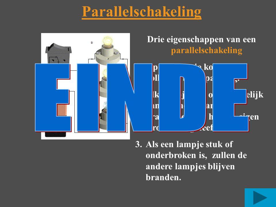 Parallelschakeling Drie eigenschappen van een parallelschakeling 1.Op elk lampje komt de volledige bronspanning.