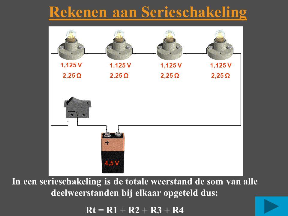 Rekenen aan Serieschakeling 4,5 V In een serieschakeling is de totale weerstand de som van alle deelweerstanden bij elkaar opgeteld dus: Rt = R1 + R2 + R3 + R4 1,125 V 2,25 Ω