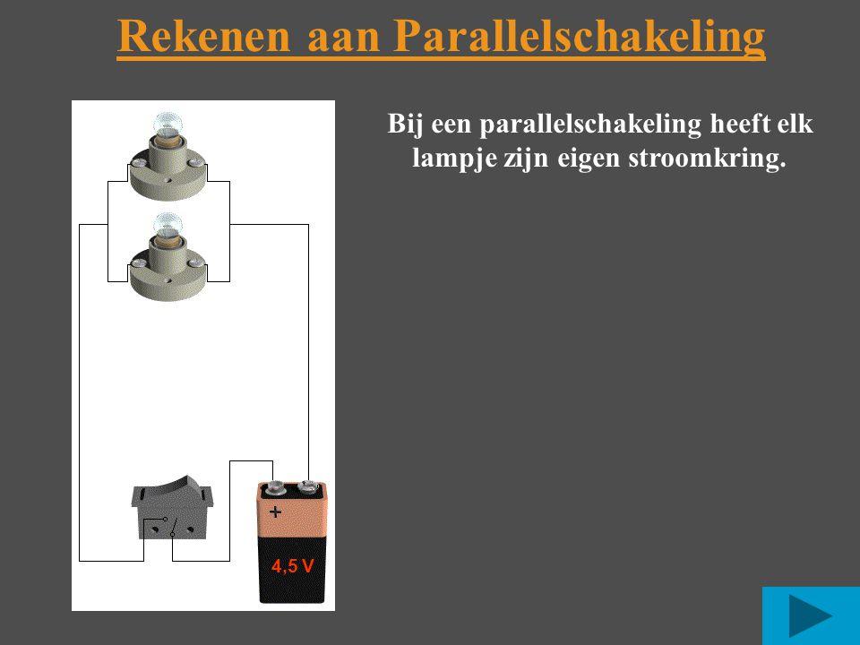 Rekenen aan Parallelschakeling Bij een parallelschakeling heeft elk lampje zijn eigen stroomkring.