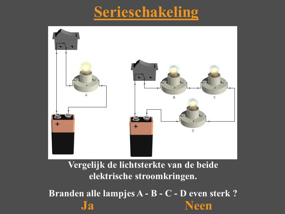 Serieschakeling Vergelijk de lichtsterkte van de beide elektrische stroomkringen.