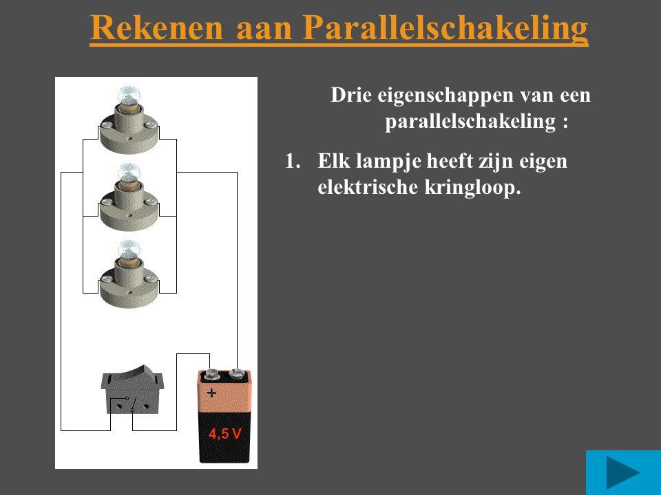 Rekenen aan Parallelschakeling 4,5 V Drie eigenschappen van een parallelschakeling : 1.Elk lampje heeft zijn eigen elektrische kringloop.