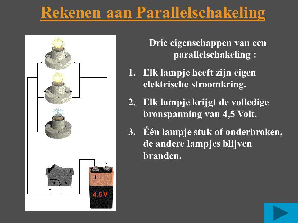 Rekenen aan Parallelschakeling Drie eigenschappen van een parallelschakeling : 1.Elk lampje heeft zijn eigen elektrische stroomkring.