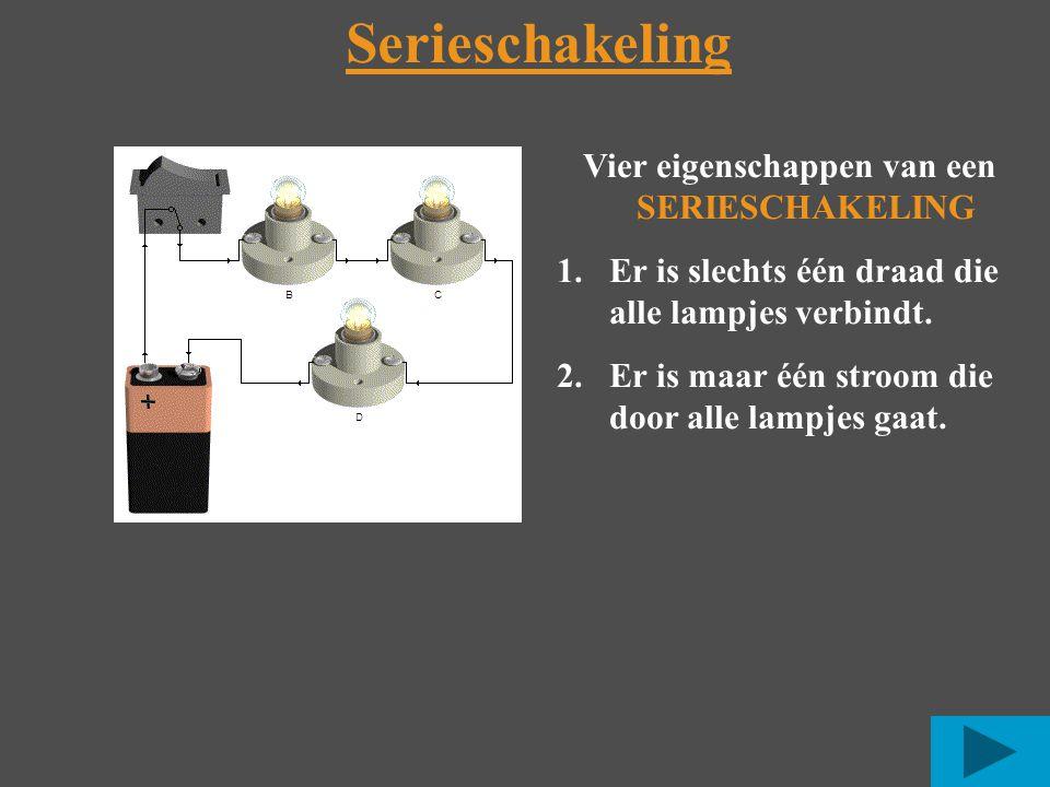 Serieschakeling Vier eigenschappen van een SERIESCHAKELING 1.Er is slechts één draad die alle lampjes verbindt.
