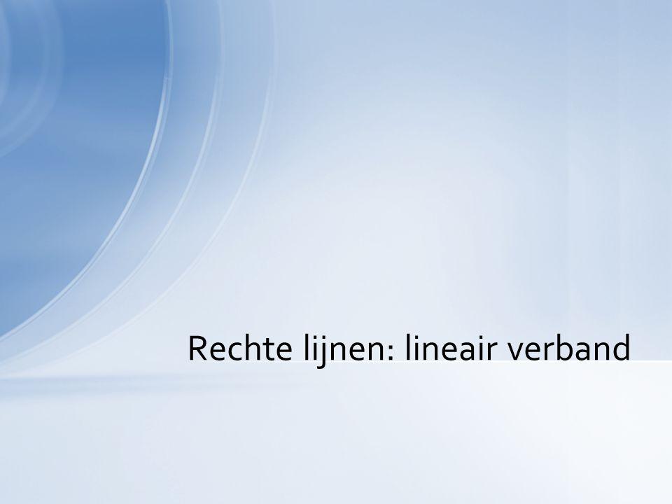 Rechte lijnen: lineair verband