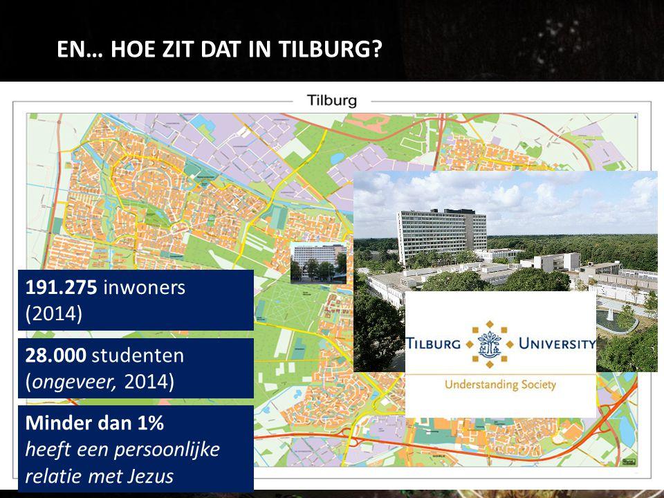 EN… HOE ZIT DAT IN TILBURG? 191.275 inwoners (2014) 28.000 studenten (ongeveer, 2014) Minder dan 1% heeft een persoonlijke relatie met Jezus