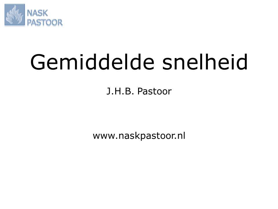 Gemiddelde snelheid J.H.B. Pastoor www.naskpastoor.nl