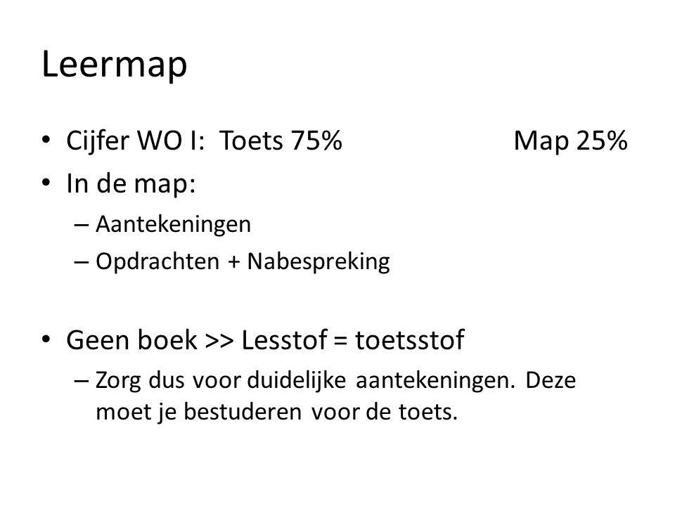 Leermap Cijfer WO I: Toets 75%Map 25% In de map: – Aantekeningen – Opdrachten + Nabespreking Geen boek >> Lesstof = toetsstof – Zorg dus voor duidelijke aantekeningen.