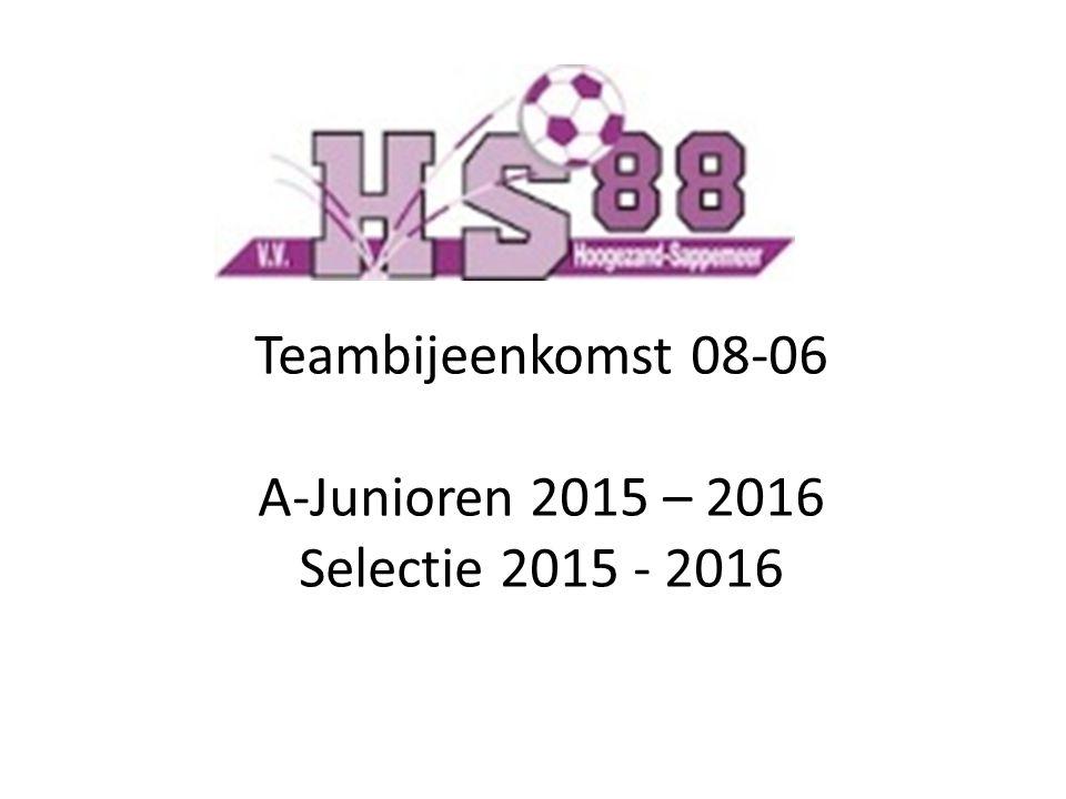 Teambijeenkomst 08-06 A-Junioren 2015 – 2016 Selectie 2015 - 2016