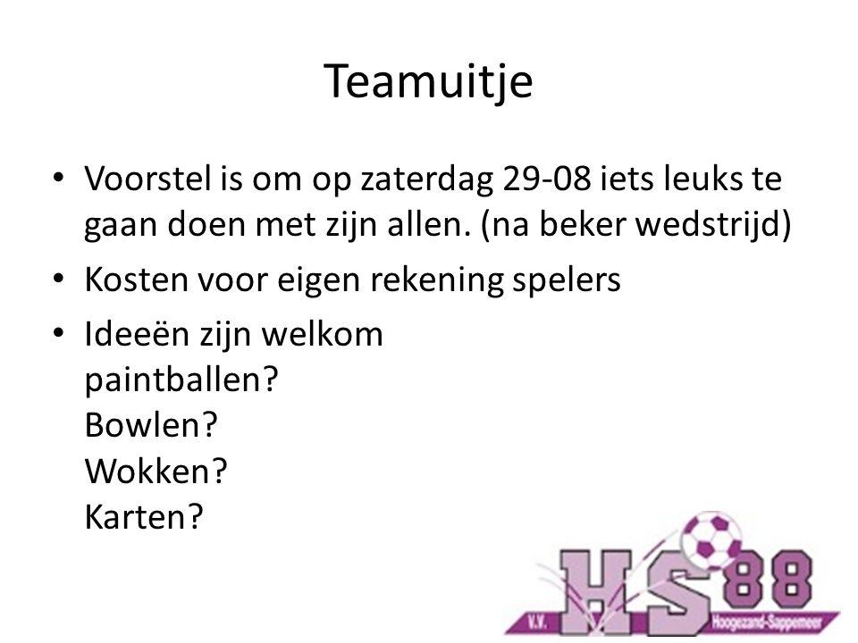 Teamuitje Voorstel is om op zaterdag 29-08 iets leuks te gaan doen met zijn allen. (na beker wedstrijd) Kosten voor eigen rekening spelers Ideeën zijn