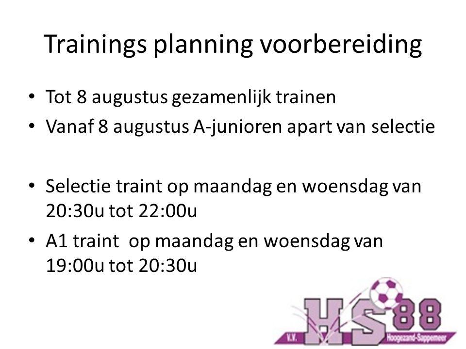 Trainings planning voorbereiding Tot 8 augustus gezamenlijk trainen Vanaf 8 augustus A-junioren apart van selectie Selectie traint op maandag en woensdag van 20:30u tot 22:00u A1 traint op maandag en woensdag van 19:00u tot 20:30u