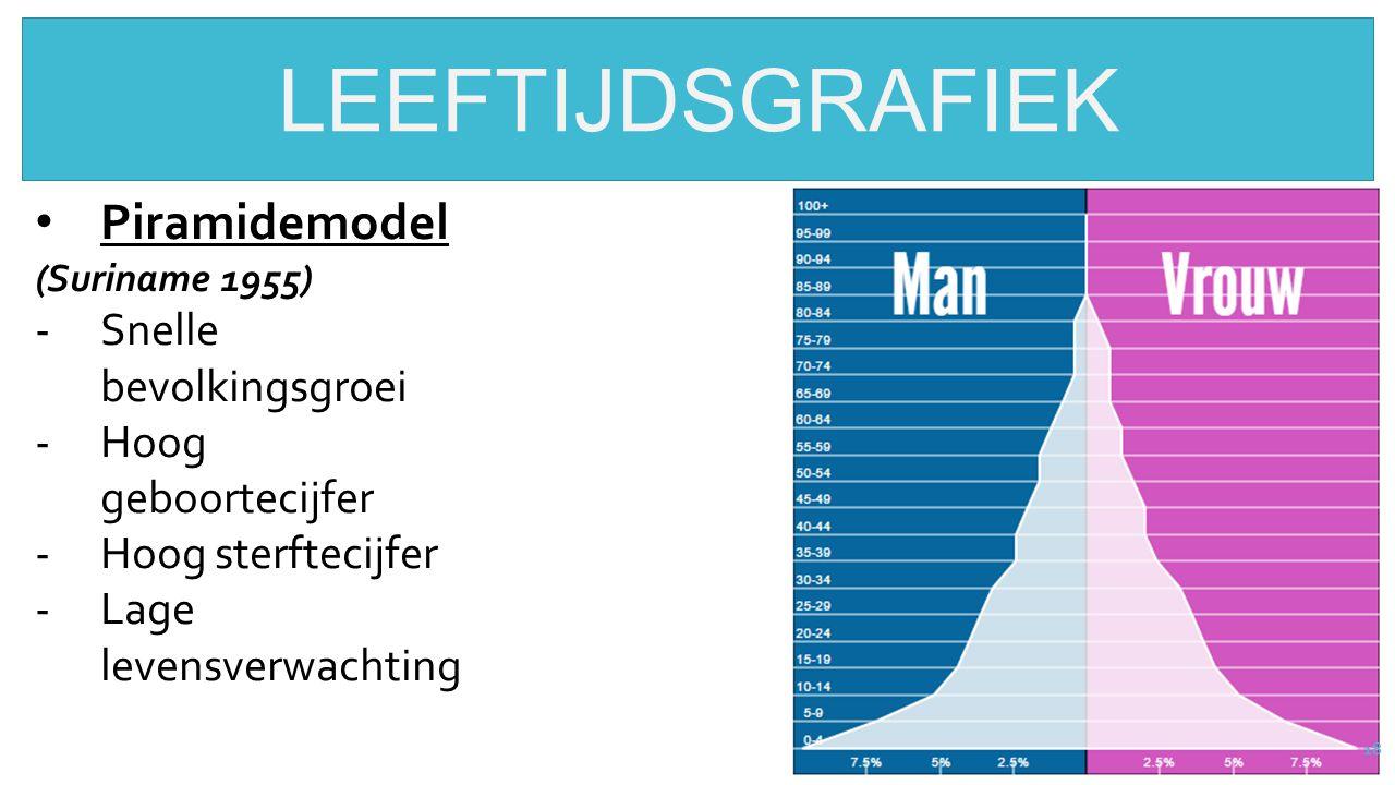 18 LEEFTIJDSGRAFIEK Piramidemodel (Suriname 1955) -Snelle bevolkingsgroei -Hoog geboortecijfer -Hoog sterftecijfer -Lage levensverwachting
