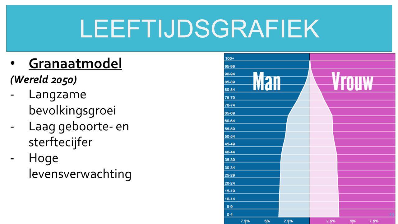 23 LEEFTIJDSGRAFIEK Granaatmodel (Wereld 2050) -Langzame bevolkingsgroei -Laag geboorte- en sterftecijfer -Hoge levensverwachting