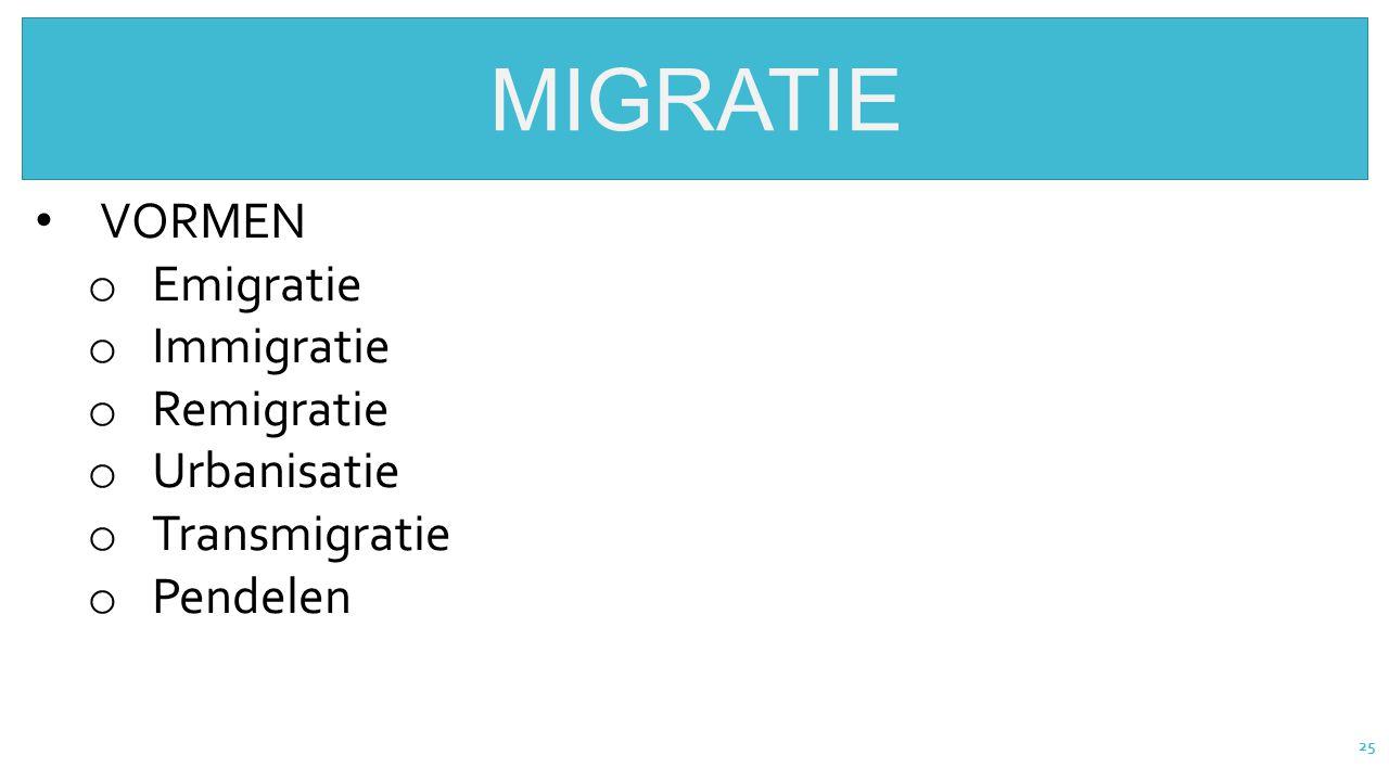 25 MIGRATIE VORMEN o Emigratie o Immigratie o Remigratie o Urbanisatie o Transmigratie o Pendelen