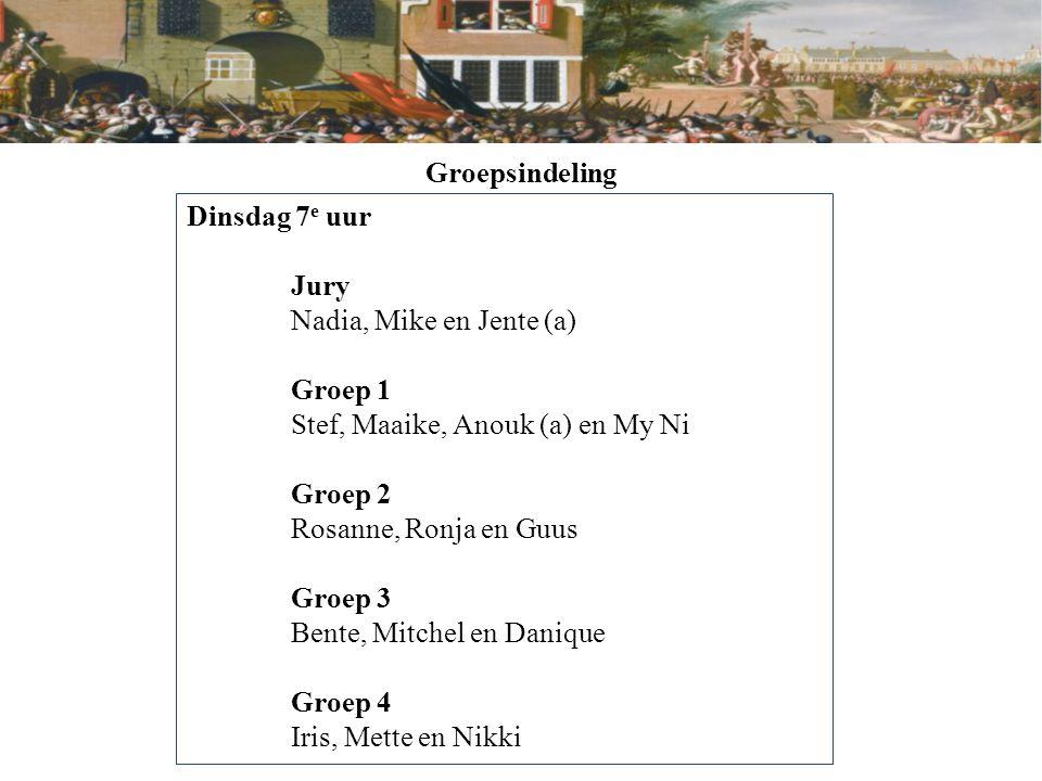 Groepsindeling Dinsdag 8 e uur Jury Gia Hân en Famke Groep 1 Tim (a), Sil en Nienke Groep 2 Nina, Pleun en Rilana (a) Groep 3 Myrthe (a), Sam en Bertie Groep 4 Elise, Janne en Erik (a)