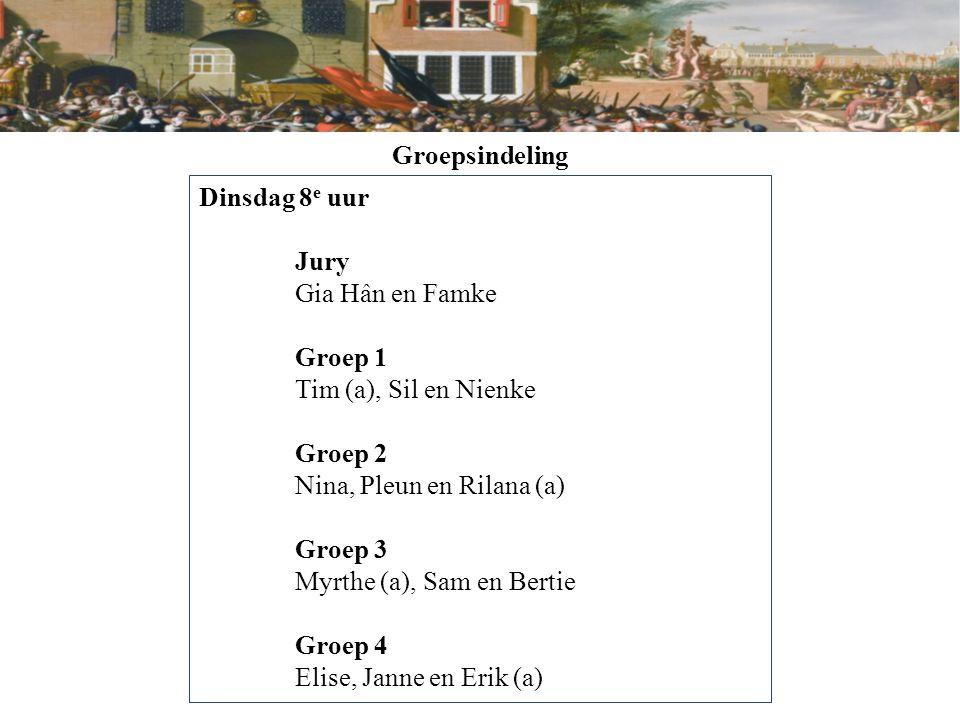 Groepsindeling Dinsdag 8 e uur Jury Gia Hân en Famke Groep 1 Tim (a), Sil en Nienke Groep 2 Nina, Pleun en Rilana (a) Groep 3 Myrthe (a), Sam en Berti