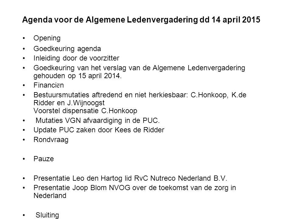Agenda voor de Algemene Ledenvergadering dd 14 april 2015 Opening Goedkeuring agenda Inleiding door de voorzitter Goedkeuring van het verslag van de Algemene Ledenvergadering gehouden op 15 april 2014.