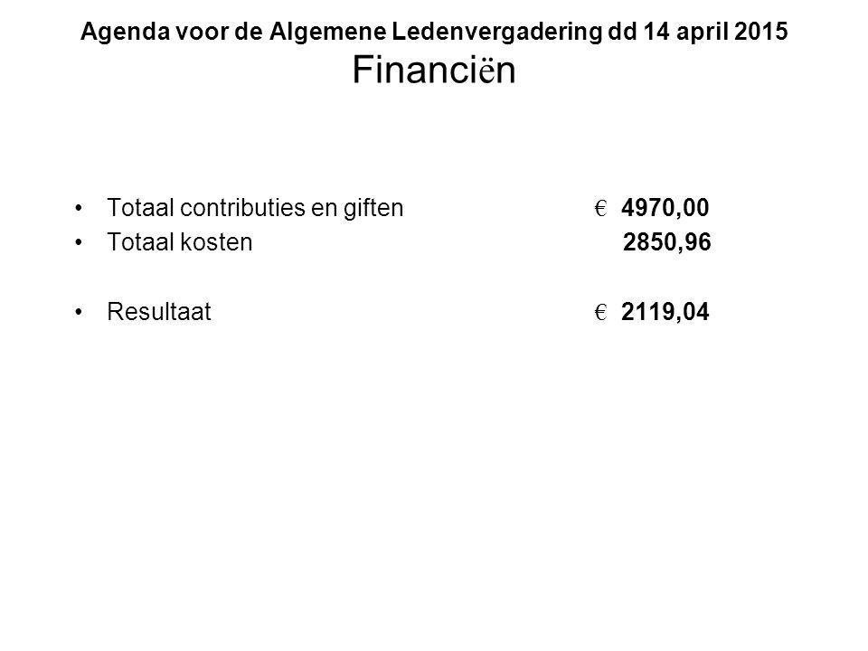 Agenda voor de Algemene Ledenvergadering dd 14 april 2015 Financi ë n Totaal contributies en giften € 4970,00 Totaal kosten 2850,96 Resultaat € 2119,04