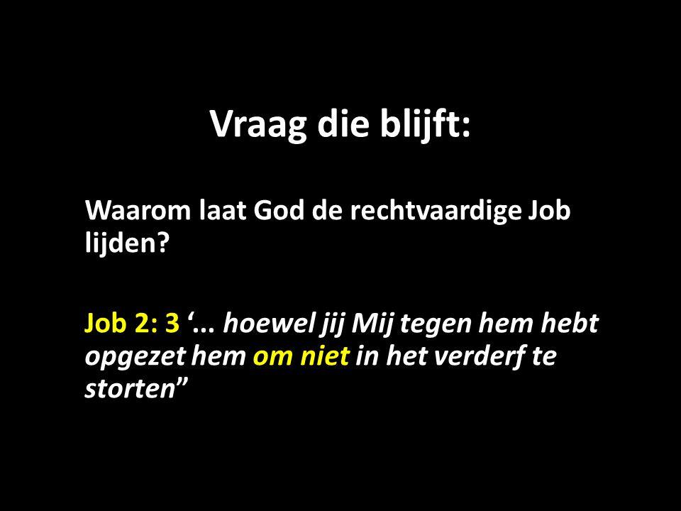 Vraag die blijft: Waarom laat God de rechtvaardige Job lijden? Job 2: 3 '... hoewel jij Mij tegen hem hebt opgezet hem om niet in het verderf te stort