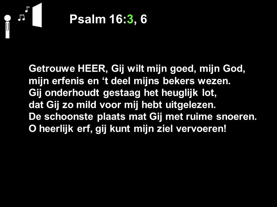 Psalm 16:3, 6 Getrouwe HEER, Gij wilt mijn goed, mijn God, mijn erfenis en 't deel mijns bekers wezen. Gij onderhoudt gestaag het heuglijk lot, dat Gi