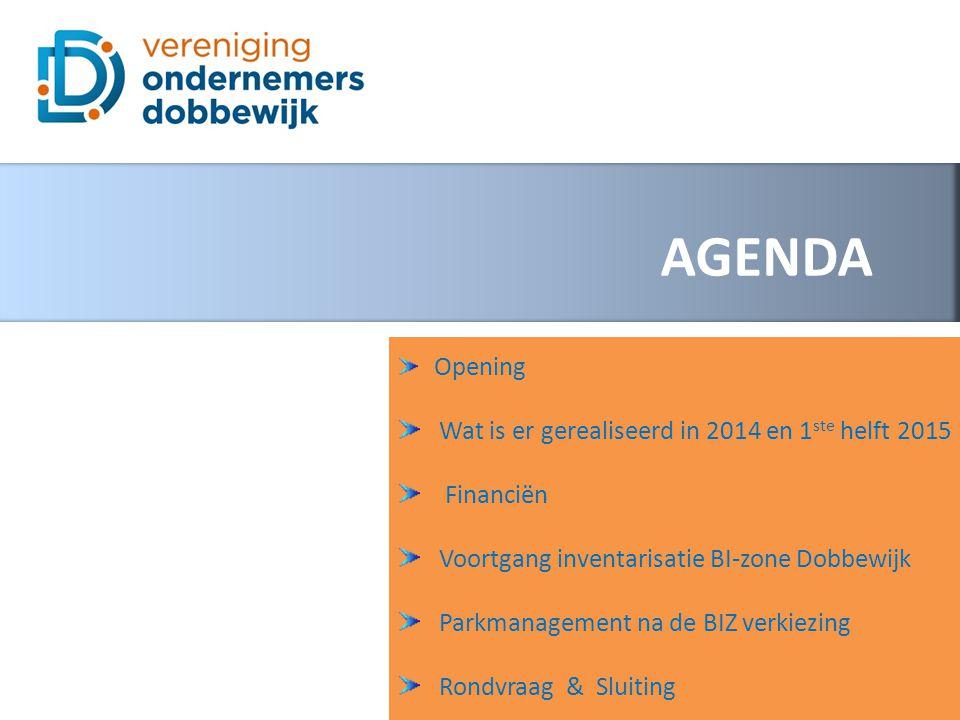 AGENDA Opening Wat is er gerealiseerd in 2014 en 1 ste helft 2015 Financiën Voortgang inventarisatie BI-zone Dobbewijk Parkmanagement na de BIZ verkiezing Rondvraag & Sluiting