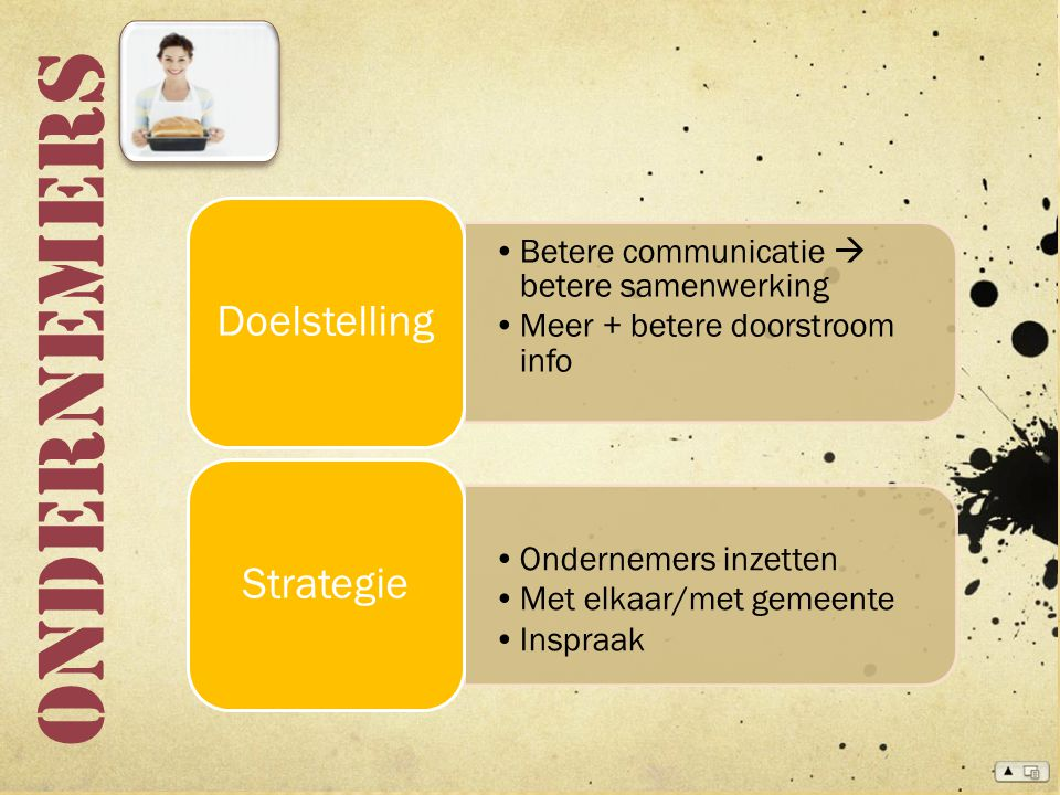 Ondernemers Betere communicatie  betere samenwerking Meer + betere doorstroom info Doelstelling Ondernemers inzetten Met elkaar/met gemeente Inspraak Strategie