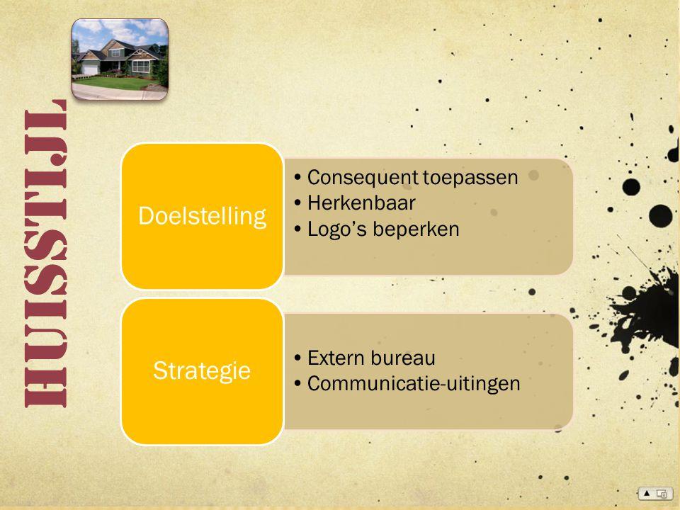 Huisstijl Consequent toepassen Herkenbaar Logo's beperken Doelstelling Extern bureau Communicatie-uitingen Strategie
