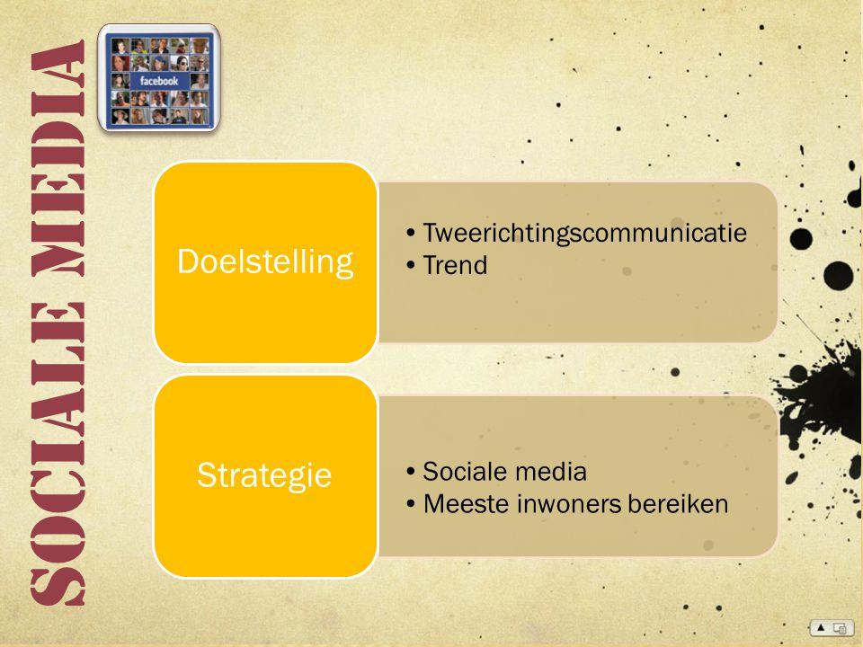 Sociale media Tweerichtingscommunicatie Trend Doelstelling Sociale media Meeste inwoners bereiken Strategie